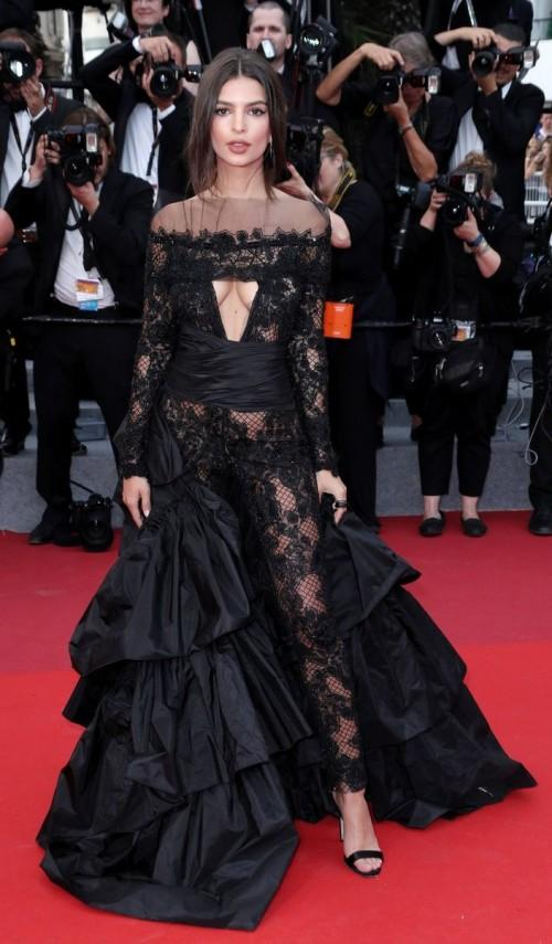 Yay or Nay? Emily Ratajkowski wearing a black sheer lace outfit at the premiere of Loveless during the Cannes Film Festival - SeenIt