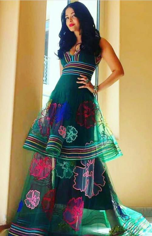 Yay or Nay? Aishwarya Rai wearing a green Yanina couture gown as her first outfit at Cannes - SeenIt