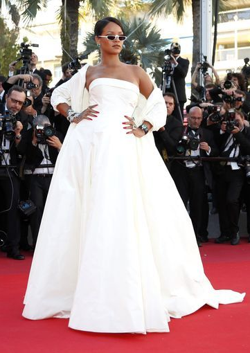 Yay or Nay? Rihanna wearing a white strapless cape gown at the Okja Screening during the Cannes Film festival - SeenIt
