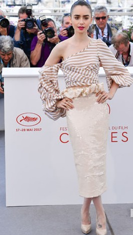 Yay or Nay? Lily Collins wearing a Johanna Oritz outfit at the Okja Photcall during the Cannes Film Festival - SeenIt