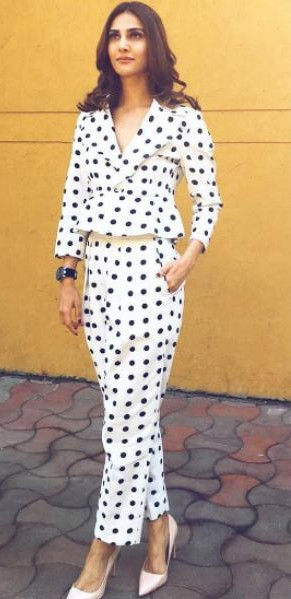 Looking for a similar polka dotted suit as spotted on Vaani Kapoor - SeenIt