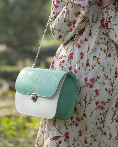 Help me find this mint and white sling bag. - SeenIt