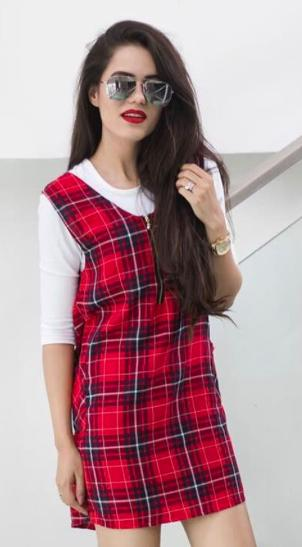 I'm looking for a similar plaid red t-shirt dress as seen on aakritiranagill - SeenIt