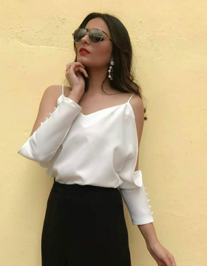I'm looking for a similar white cold shoulder top and black pencil skirt as seen on headtilt - SeenIt