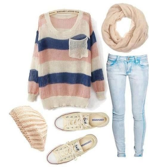 Want the striped sweater , infinity scarf, blue jeans ,white sneakers and pink knit beanie - SeenIt