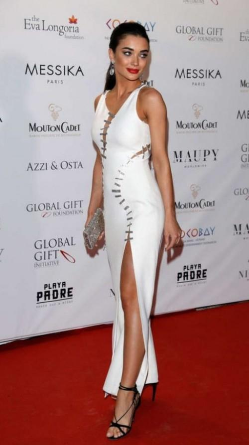 Yay or Nay? Amy Jackson wearing a white slit dress at the Global Gift Gala during the Cannes Film Festival - SeenIt