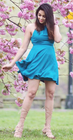 I'm looking for a similar turquoise blue dress and nude knee high tie up sandals as seen on stylespectrum - SeenIt