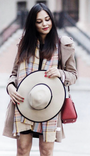I'm looking for a similar printed scarf, nude hat and red sling bag  as seen on stylespectrum - SeenIt