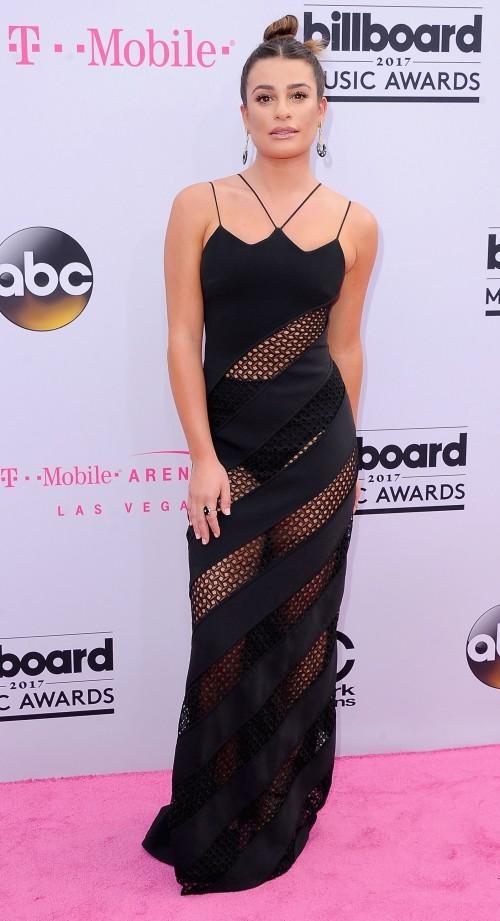 Yay or Nay? Lea Michelle wearing a black mesh maxi dress at the Billboard Music Awards 2017 held in Las Vegas - SeenIt