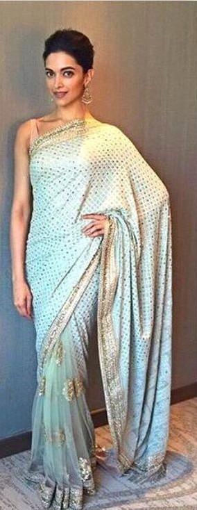 Want this blue embellished saree which Deepika Padukone is wearing - SeenIt