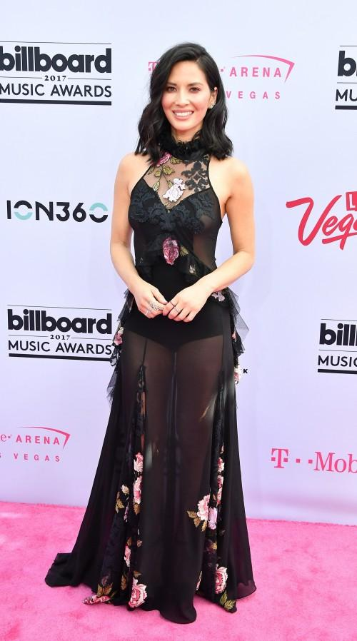 Yay or Nay? Olivia Munn wearing a black floral mesh gown at the Billboard Music Awards last night - SeenIt