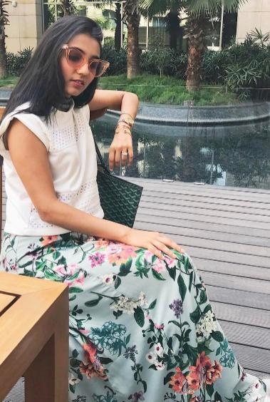 I'm looking for a white top and floral mint green skirt as seen on missstylefiesta - SeenIt