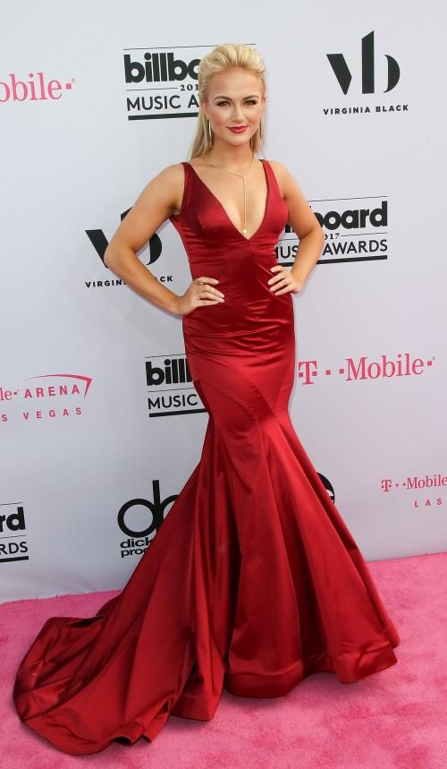 Yay or Nay? Savvy Shields wearing a red satin plunging trail gown at the Billboard Music Awards last night in Vegas - SeenIt