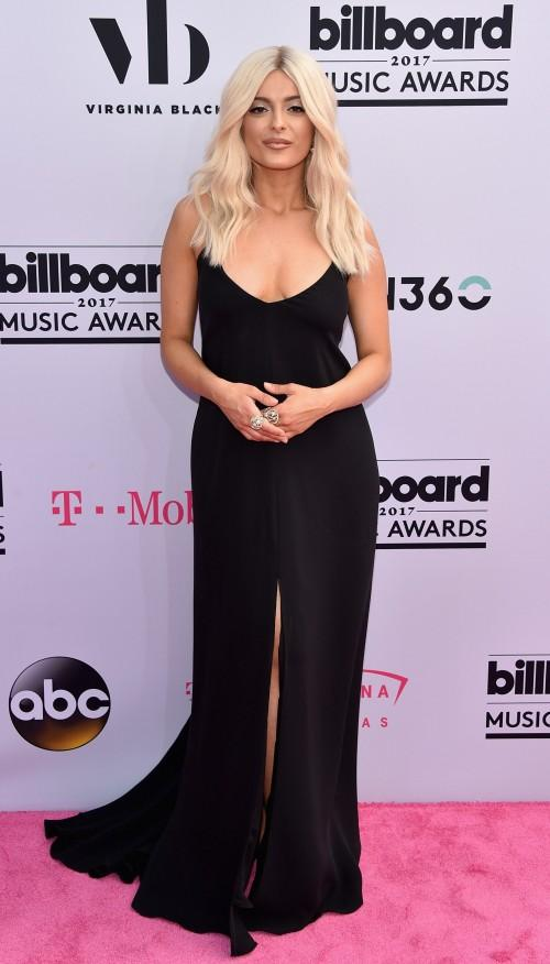 Yay or Nay? Bebe Rexha wearing a black slit long dress at the Billboard Music Awards last night in Vegas - SeenIt