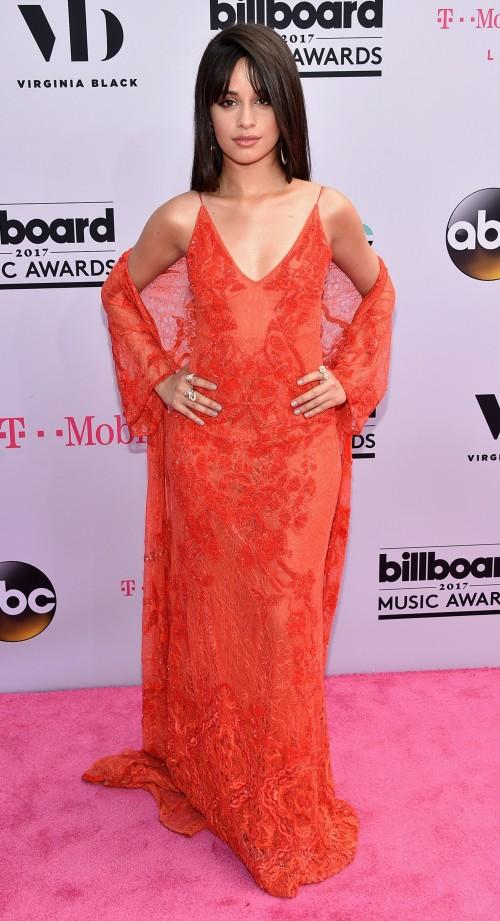 Yay or Nay? Camila Cabello wearing an orange strappy gown at the Billboard Music Awards last night in Vegas - SeenIt