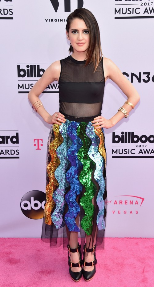 Yay or Nay? Laura Marano spotted in sequin multi color skirt and mesh black top at the Billboard Music Awards last night in Vegas - SeenIt