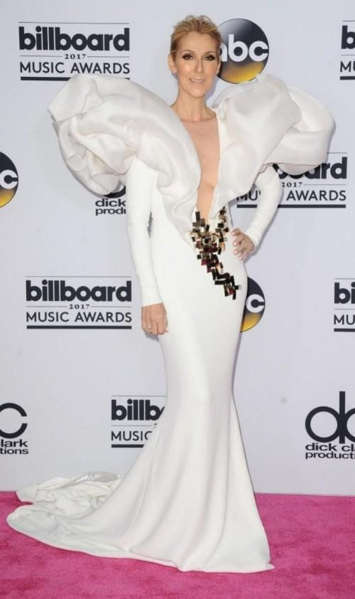 Yay or Nay? Celine Dion wearing a white Stephen Roland gown at the Billboard Music Awards last night in Vegas - SeenIt