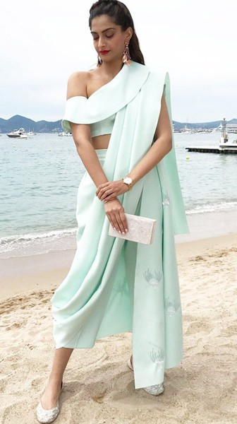 Yay or Nay? Sonam Kapoor spotted wearing a pastel dhoti outfit by Masaba Gupta on day 6 at the Cannes Film Fesival this year - SeenIt