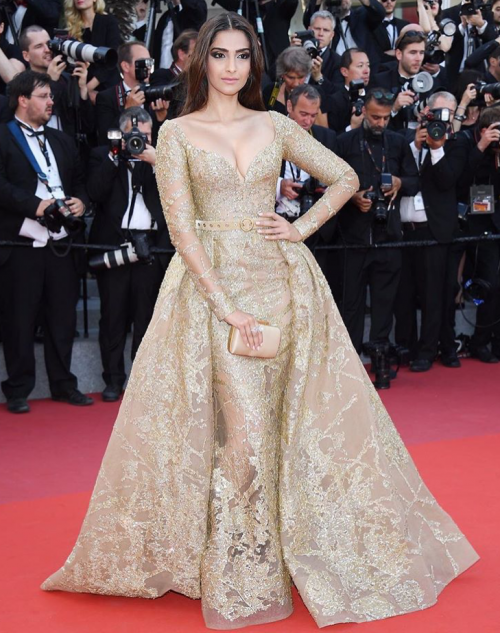 Yay or Nay? Sonam Kapoor wearing a beautiful golden shimmery embellished Elie Saab gown for her final look at the Cannes Film Fesival - SeenIt