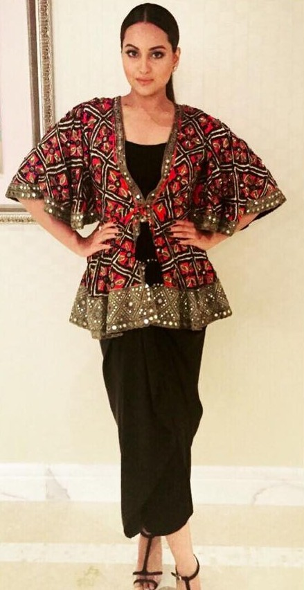 Looking for this black skirt and colourful mirrorwork waist coat as seen on Sonakshi Sinha - SeenIt
