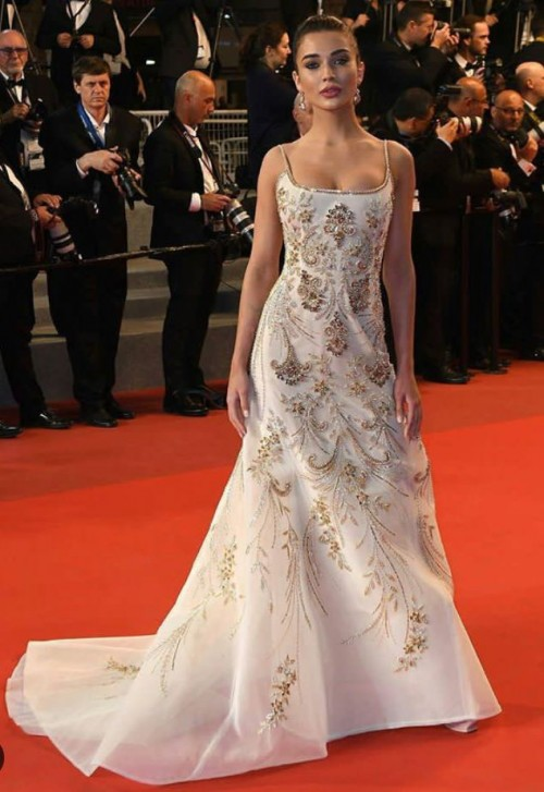 Yay or Nay? Amy Jackson spotted wearing nude embellished gown at the Cannes Red Carpet - SeenIt