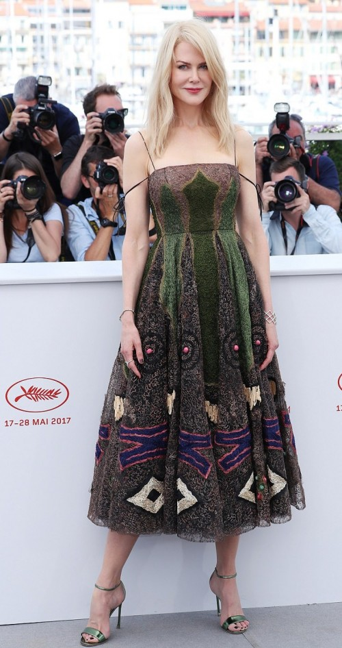 Yay or Nay? Nicole Kidman wearing a green peacock inspired midi dress at The Killing of a Sacred Deer screening during the Cannes Film Festival - SeenIt