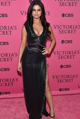 Yay or Nay? Selena Gomez wearing a black leather dress on the Pink carpet at the Victoria Secret's 2015 show - SeenIt