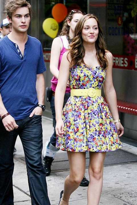 Looking for a similar printed skater dress as the one Leighton Meester is wearing. - SeenIt