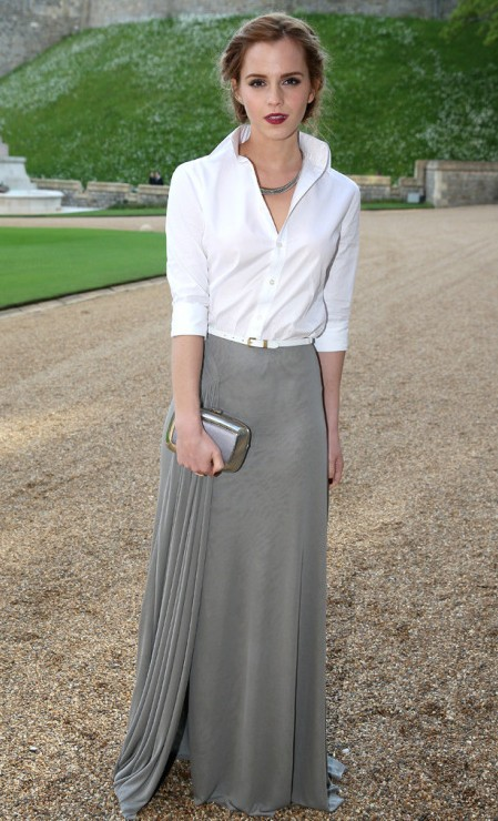 Looking for a similar grey maxi skirt and white shirt as the one Emma Watson is wearing - SeenIt