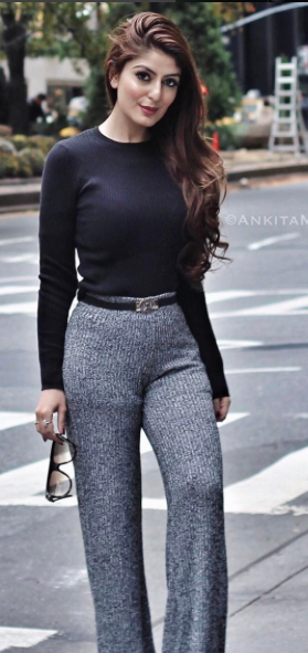 I'm looking for a black top, belt and grey pants or palazzos as seen on ankitamehraarora - SeenIt