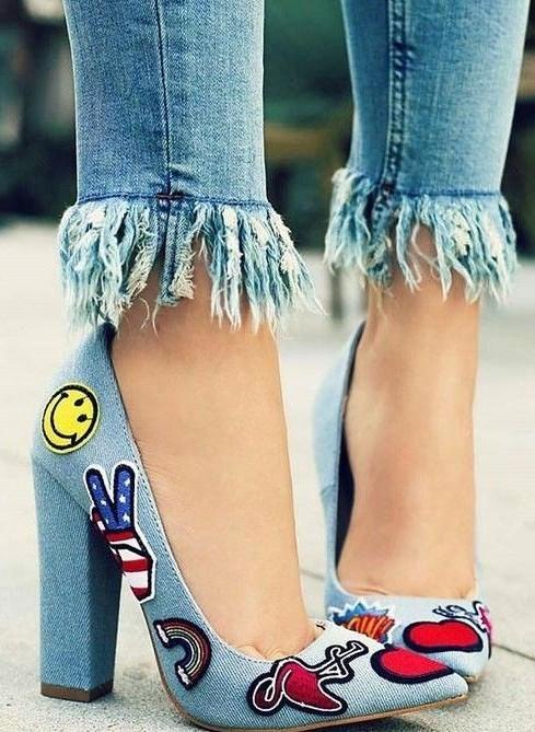 Want these blue denim block heels - SeenIt