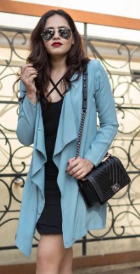I'm looking for a similar black dress and blue shrug as seen on styledrive - SeenIt