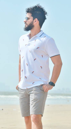 I'm looking for a similar printed white polo neck t-shirt and grey shorts as seen on fmwdotcom - SeenIt