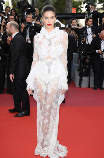 Yay or Nay? Sara Sampaio spotted wearing a white lace mesh outfit at the Cannes Red Carpet - SeenIt