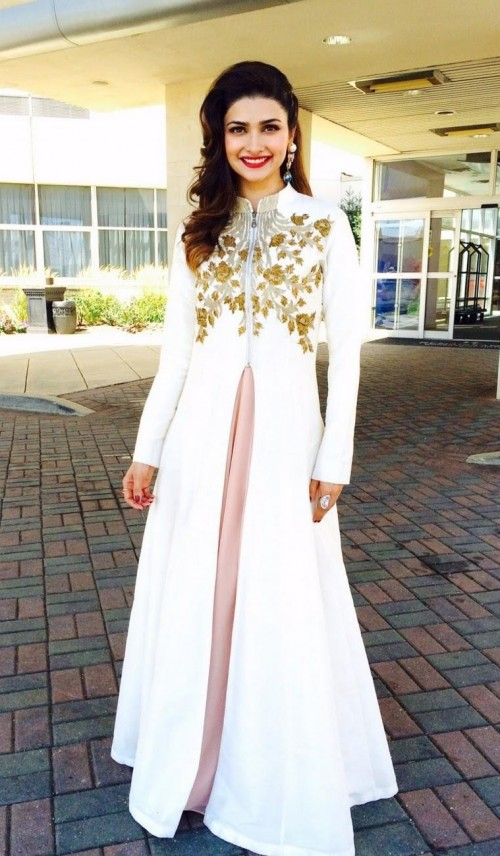 Looking for a similar white ethnic jacket with golden embroidery as seen on Prachi Desai - SeenIt