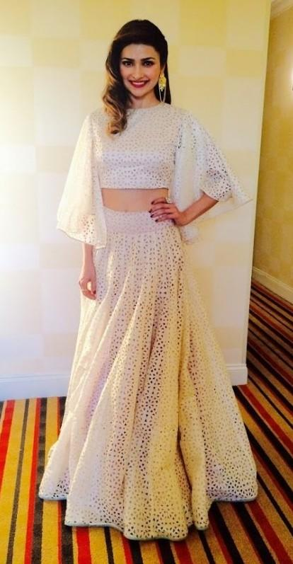 Help me find a similar off white lehenga as seen on Prachi Desai - SeenIt