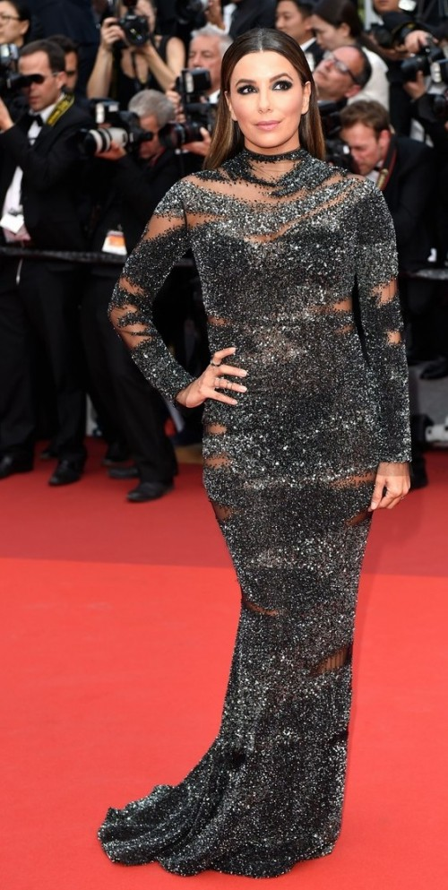 Yay or Nay? Eva Longoria wearing a black shimmer sequin Pamella Roland gown at the Cannes Red Carpet this year - SeenIt