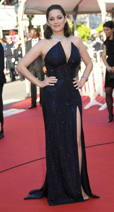 Yay or Nay? Marion Cotillard wearing a shimmer navy blue slit strapless gown during the Cannes Film Festival - SeenIt