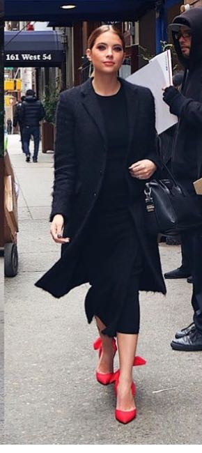 Yay or Nay ? Ashley Benson in this black midi dress ,black coat and pink heels - SeenIt