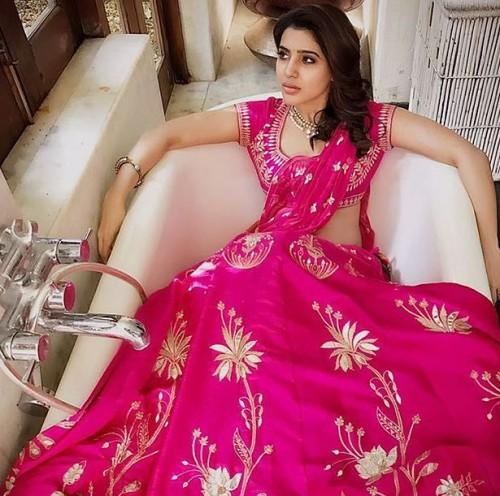 Yay or Nay ? Samantha Ruth Prabhu in this pink embroidered saree - SeenIt