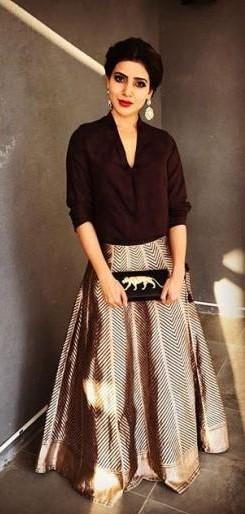 Yay or Nay ? Samantha Ruth Prabhu in a black shirt and metallic maxi skirt - SeenIt