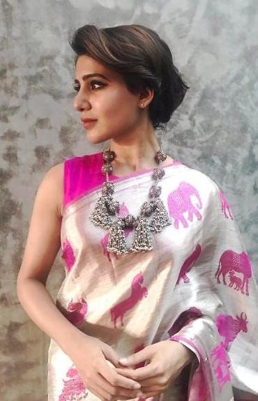 Yay or Nay ? Samantha Prabhu in this pink and silver saree - SeenIt