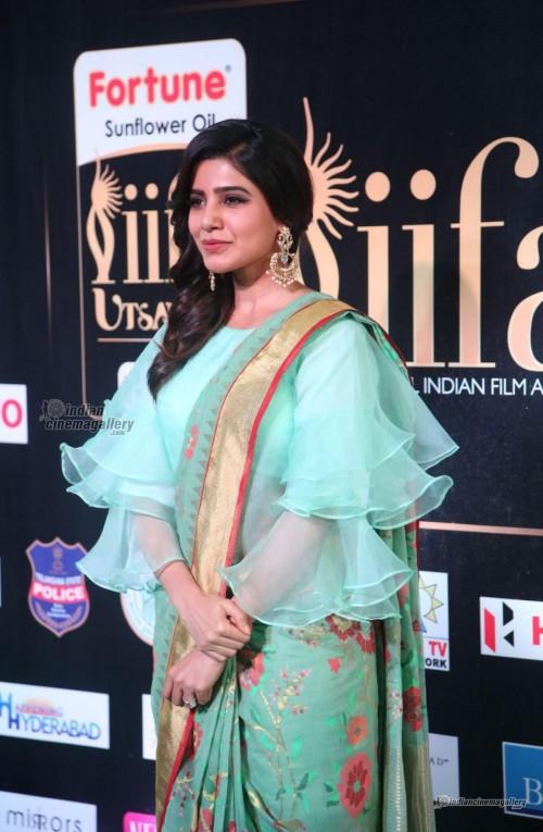 Yay or Nay ? Samantha Prabhu in a sea green saree with a ruffled blouse - SeenIt
