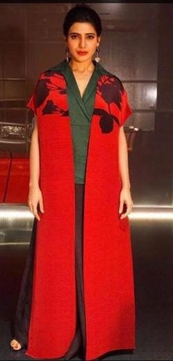Yay or Nay ? Samantha Prabhu in a red cape jacket, collared shirt and flared pants by Payal Khandelwal - SeenIt