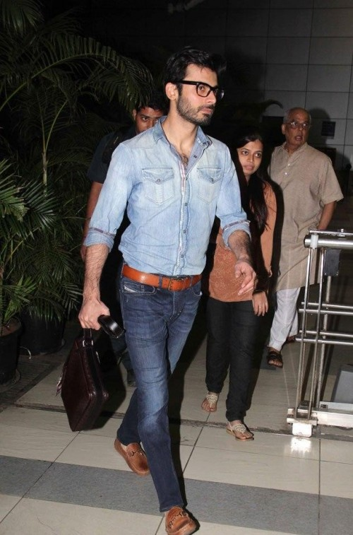 Looking for a similar denim on denim look complete with tan loafers and a chocolate brown leather belt as seen on Fawad Khan - SeenIt