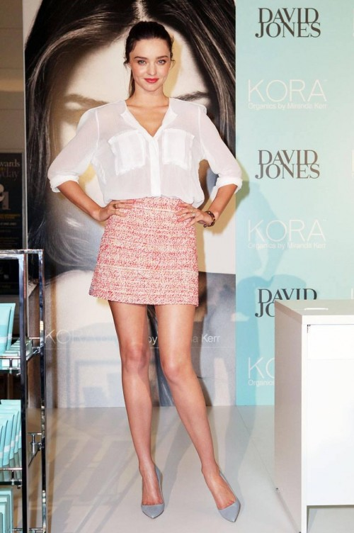 Looking for a similar white shirt and printed red skirt as Miranda Kerr is wearing - SeenIt