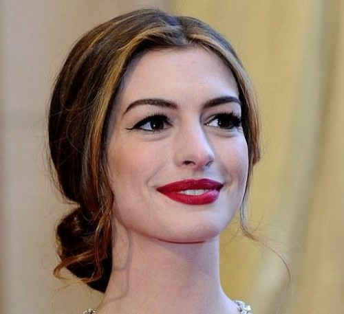 Help me find a similar red lip shade as Anne Hathaway is wearing - SeenIt