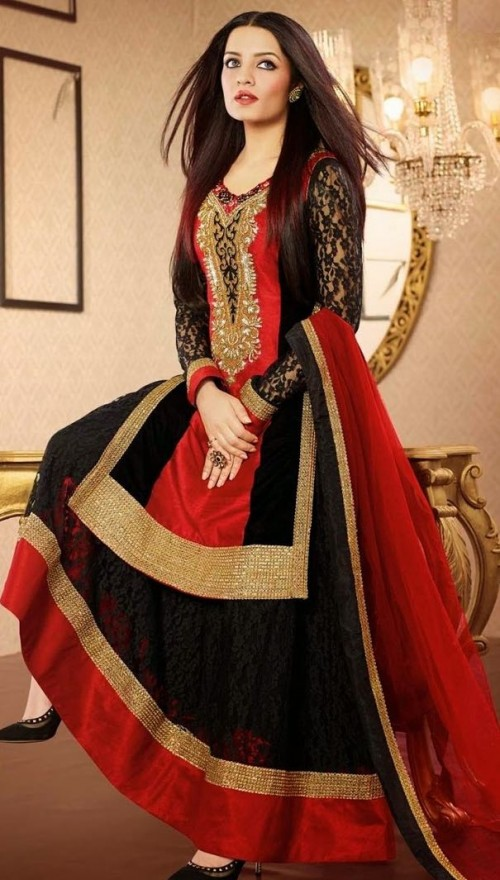 Want this black and red salwar kameez which Celina Jaitley is wearing - SeenIt