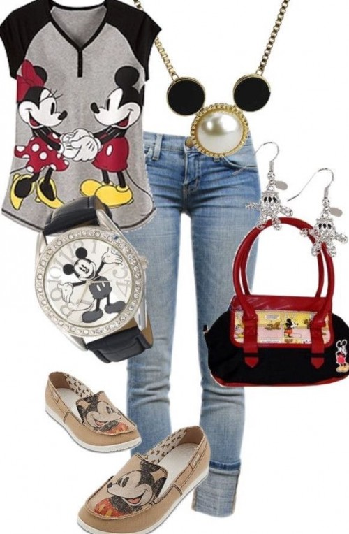 Want this mickey mouse printed t-shirt, the mickey mouse watch, blue jeans, mickey-mouse print loafers and the black handbag - SeenIt