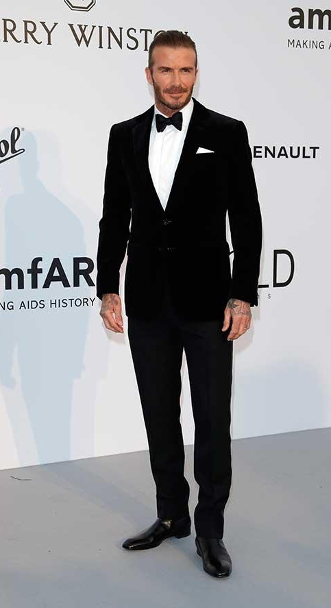 Yay or Nay? David Beckham wearing a crisp black tuxedo suit  at the Amfar gala during the Cannes Film festival - SeenIt